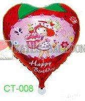 "Free Shipping! CT-008 Cartoon Design-( Strawberry Shortcake) Foil Balloon/ Party & Holiday Balloon- Heart Shape -18"", 20pcs/lot"
