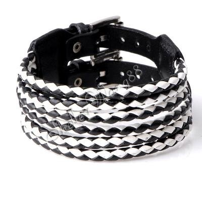 Cool New Adjustable Fashion UniSex Belt Buckle Leather Bracelet Braid (Black &amp; White) Whosale/retail(China (Mainland))