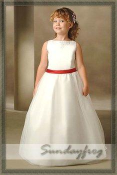 Free Shipping Custom Made Ball Gown Flower Girl Dress Floor-length Organza Sash First Communion Dress Wedding Party Dress -FL103
