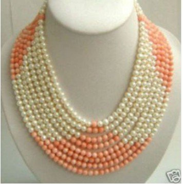 Charming Superb 3 row 8mm red coral white pearl beads necklace Fashion Free shipping(China (Mainland))