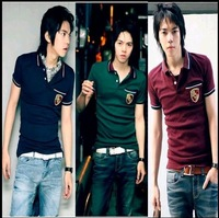 Shipping Free 2011 CHIC Korea Mens Chest Badge Embroid Short Sleeve POLO Shirt 3color 331161.10 M/L/XL