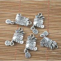 30pcs antiqued silver COOKIES design pendant charm G1554