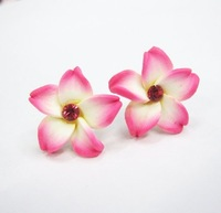 Size 15mm  20colors HOT-SALE Plumeria Flower  earring studs(Mosaic Crystal)