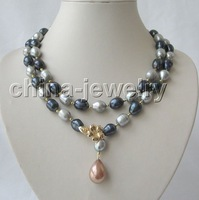 "39"" 13mm black gray baroque FW pearl necklace+free shippment"