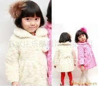 Hotsale B2W2 Girl Coats Girl Clothing Princess Coat Pink White Kids Wear Kids Clothes Kids Clothing Cotton(China (Mainland))
