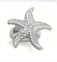 2011 New! Wholesale Free shipping 925 sterling silver jewelry / 925 silver starfish ring size adjustable TR9