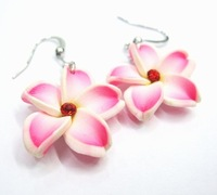 New! size 25mm Dangle Frangipani Rhinestone polymer clay earring with  lot (48 pairs)