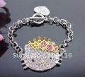 HELLO KITTY Pink golden Bow Crown Princess Bracelet Z22+free shipping