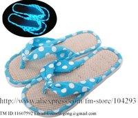 Free shipping 8 pair/lot ladies's coral velvet light energy storage slipper/Novelty  luminous fabric slipper/ flip flops