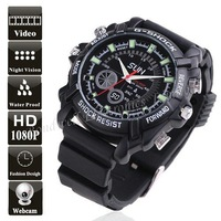 1080P HD Waterproof  Watch DVR with IR Night Vision (8GB), 1920*1080 30FPS IR Hidden Watch Camera,Free UPS DHL EMS