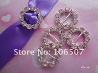 Wholesale and retail FREE SHIPPING 50PCS Circle A-Grade Rhinestone Buckle Ribbon Slider Craft Wedding Decor