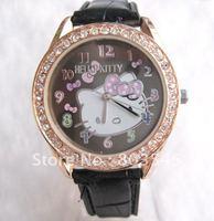 5PCS/lot High Quanlity Lovely Crystal Diamond Hello Kitty Watch Cartoon Watch  Hellokitty watches wrist watch