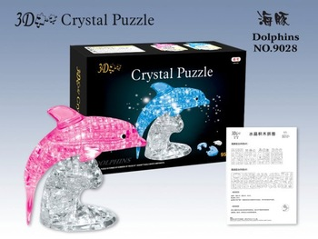Free shipping/2011 LED white pink crystal Dolphins 3D jigsaw puzzle,jigsaw,do-it-yourselfery