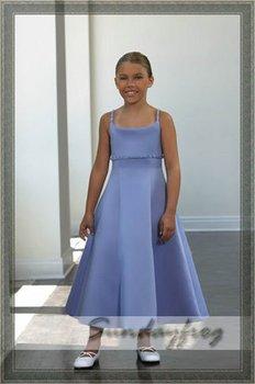 Free Shipping Custom Made A-Line Beaded Flower Girl Dress Floor-length Satin First Communion Dress Wedding Party Dress -FL128