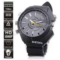 1080P High Resolution Waterproof  Watch DVR Hidden Watch Camera with IR Night Vision ,1920*1080 30FPS (8GB)