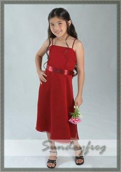 Free Shipping Custom Made A-Line Ruffle Flower Girl Dress Tea-length Chiffon First Communion Dress Wedding Party Dress -FL170