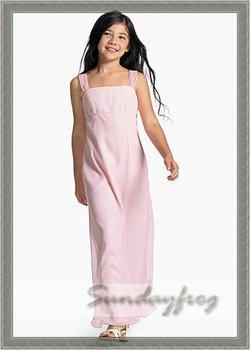 Free Shipping Custom Made A-Line Ruffle Flower Girl Dress Floor-length Chiffon First Communion Dress Wedding Party Dress -FL176