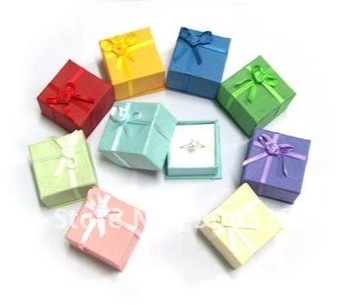 Free shipping 120 pcs mixed colors cheap price silver jewelry rings paper jewellery boxes gift package ring box wholesale