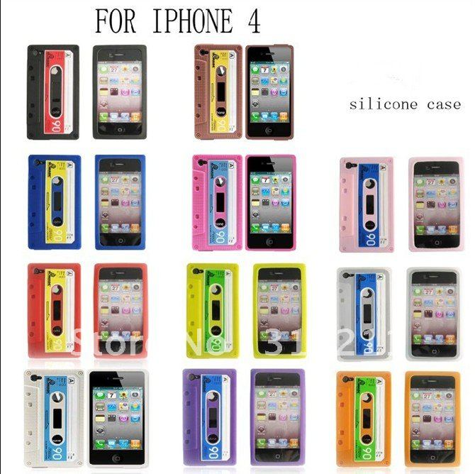 10PCS FREE SHIPPING! Cassette Tape Series Silicone Case For iPhone 4 4G(China (Mainland))