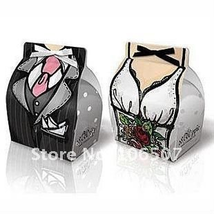 FREE SHIPPING-100 sets(200pcs) Tuxedo and Gown favor candy box Favour Gift Box Wedding Decor Supplies-Quality Guarantee
