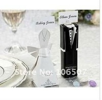 Quality Guarantee , 50 sets(100pcs) Tuxedo and Gown Favour Gift Box favor candy box Wedding decorations Supplies