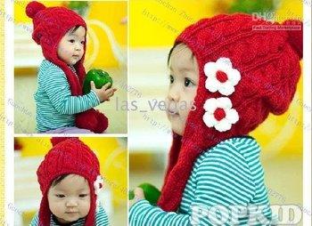 Earflaps Knit Baby Caps cap Baby Girl hats Baby Infant beanie caps Children Flower Hat cap 36pcsiris-