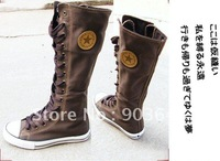 Free shippment PUNK Leisure Lady Girl Shoes Canvas shoes Boot Sneaker Lace Up Knee-High Dropshipping