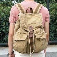 235-2l толстый холст + кожаный рюкзак школа досуг шнурок рюкзак путешествия сумка темно-серый