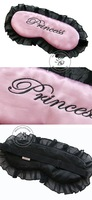 Novelty Ajustable Travel sleep Eye mask,silk eye shade for lady/girl,cute Pink Princess words print sleep mask with lace,