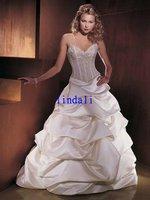 Wholesale silk V-neck white wedding dress free shipping