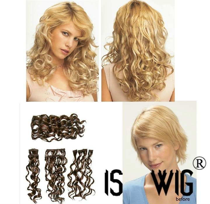 "whole sale price! Jessica Simpson Hair Style 18"" Wavy Clip In Extension System (10 pcs) by POP :: Put On Pieces 10sets/lot(China (Mainland))"