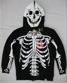 Halloween men's skeleton full zip dead serious jacket, skeleton hoodie,skull jacket Sweatshirt H019 Free Shipping !