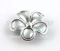 FREE SHIPPING 30PCS Gray Silver Metalized Plastic Shoe Flower #20482