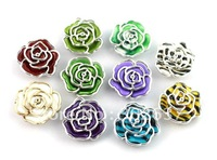 FREE SHIPPING 30PCS Mixed colours Metalized Plastic rose Shoe Flower #20498