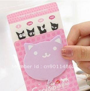 Cat Free Sticker Notes Memo Pad Notebook Office Stationery--Christmas Gift Novelty Toy(China (Mainland))