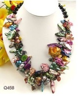 """Nice Cultured Pearl Faceted Agate Necklace 22"""" AKOYA Free shipping"""