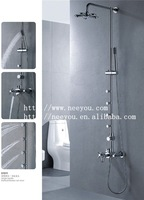 Free Shipping Brass Chrome Plating Dual Handle Wall Mounted Massage Shower Faucet NY81011