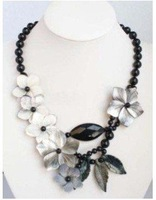 Exquisite Black Agate white Shell flower Necklace Fashion Free shipping