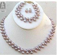 purple pearls necklace earrings bracelet set Fashion AKOYA Free shipping