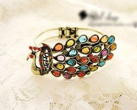 Freeshipping 5pcs/lot Hot Sale Peacock colorful gems Bangles Ethnic style Phoenix Bracelets/Bangle Fashion Wristband Jewelery