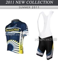 Free Shipping!! MEN'S 2011 NEW VACANSOLEIL TEAM CYCLING+BIB SHORTS BIKE SETS CLOTHES SIZE:S-4XL& Wholesale/Retail