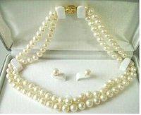 "beautiful 7-8mm Rare salt water Pearl Necklace Earring Set 17"" Wrap Fashion AKOYA Free shipping"