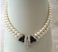 beautiful 2 rows Genuine pearl necklace Wrap Fashion AKOYA Free shipping