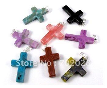 Wholesale 48pcs Cross natural stone gemstone pendants