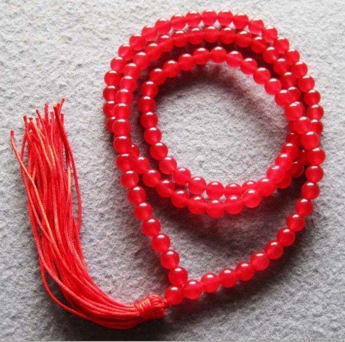 Tibet budista 108 Red Jade Beads Oração Colar Mala cor Moda Frete grátis(China (Mainland))