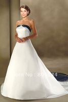 White Sexy Summon up A-line Sleeveless Satin Ruffle Strapless Wedding Dresses perfect Modern Design