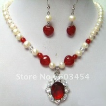 Real White Pearl Red Jade Ruby Pendant Necklace Earring / Jewelry Sets/ Free Shiping(China (Mainland))