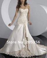 Free shipping sexy style sweetheart appliques a line elegant elegant satin material wedding gown