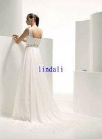 Wholesale chiffon white  wedding dress long train free shipping