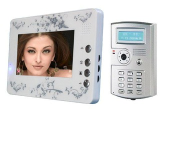 "New fashion 7"" Color Video Door Phone support unlocking by ID card,by password,by key, work attendance function"